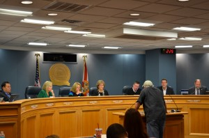 A Safety Harbor resident speaks out at the Board of County Commissioners meeting on Tuesday.