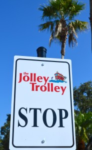 The Jolley trolley stop at the Safety Harbor Resort and Spa.