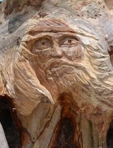 The face of Poseidon, God of the Sea, can be seen in the woodcarving.