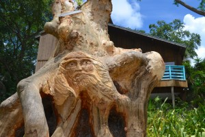 Woodcarving in front of Ben and Irma Cardosa's house on N. Bayshore Boulevard.