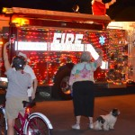 Santa on his annual ride through Safety Harbor on the back of a fire truck.