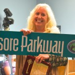 Former City Commissioner Nancy Besore received this street sign as she exited office in March 2014.
