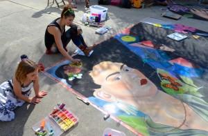 Artist Katie Bush at the 2013 Safety Harbor Chalk Fest.
