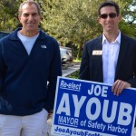 Joe Ayoub and his dad campaigning during Safety Harbor's 2014 municipal election. Ayoub lost a close mayoral race to Andy Steingold.