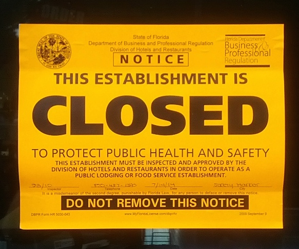 Safety harbor pizzeria temporarily closed due to health