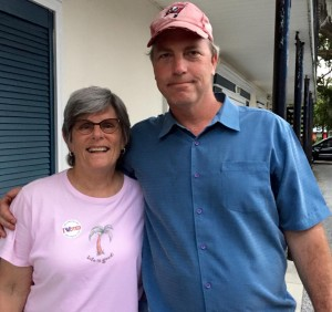 Victorious Safety Harbor City Commission candidates Janet Hooper and Andy Zodrow after the election.