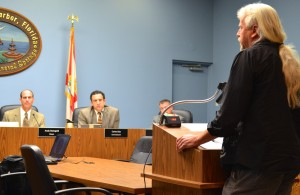 Local artist Todd Ramquist addresses the Safety Harbor City Commission on Monday, Mar.2m 2015.