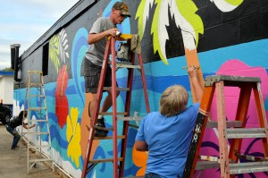 This colorful mural for the upcoming Safety Harbor Songfest was painted on a downtown building last weekend.