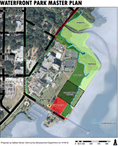 An overhead map view of the Safety Harbor Waterfront Park.
