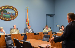 John  Mahan speaks to the Safety Harbor City Commission on Monday, August 3, 2015.
