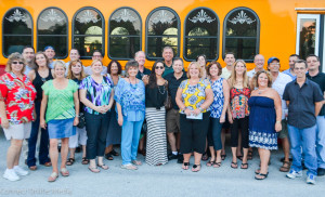A handful of Merchants of Safety Harbor members rode the Jolley Trolley in August 2015.
