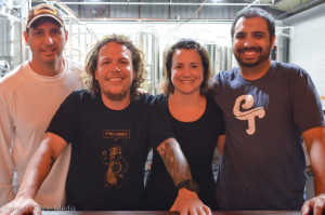 The Crooked Thumb Brewery crew (L-R): co-owners Kip Kelly and Travis Kruger, Regina Kruger and Kenjiro Tomita.