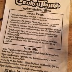 The Crooked Thumb beer menu on opening night.