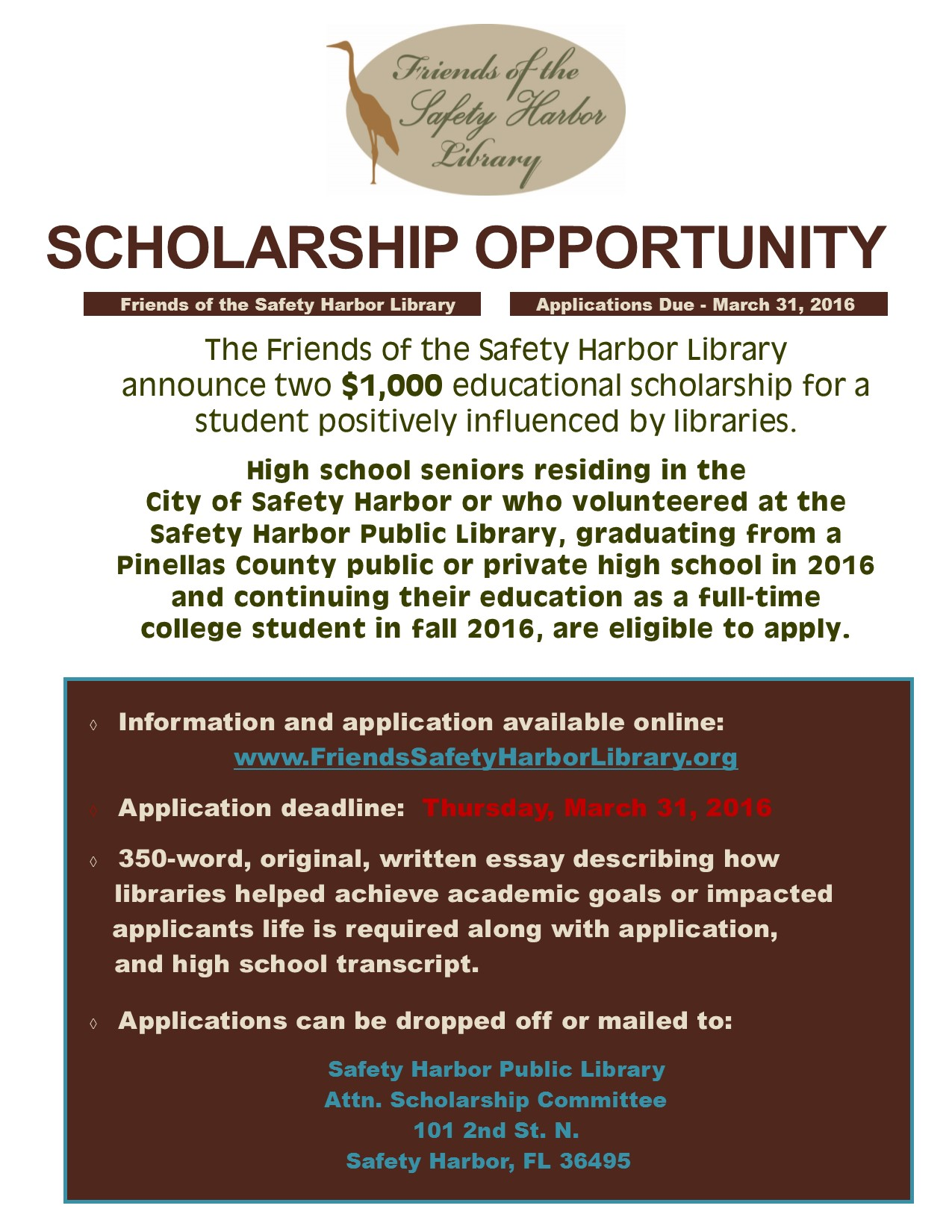 friends of the library annouce scholarships