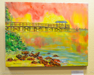 A Ben Cardoso painting of the Safety Harbor Marina pier.