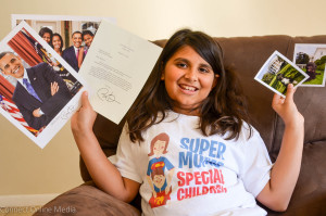 9-year-old author Madison Jayanna of Safety Harbor shows off her letter from President Barack Obama.