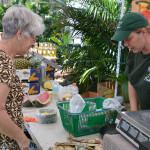 Kara Kilpatrick of Kilpatrick Produce rings up a customer on Sunday.