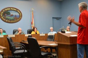 Downtown resident Mick Elliot speaks out at the planning and zoning board meeting on Wednesday night.