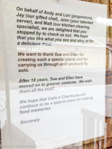 The Holynskyjs left this welcome letter outside the door of Cello's after they took over the business earlier this month.