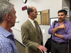 Safety Harbor Mayor Andy Steingold (center) speaks with Kevin LaBrie (l) and Vic Curti (r) following a recent commission meeting.