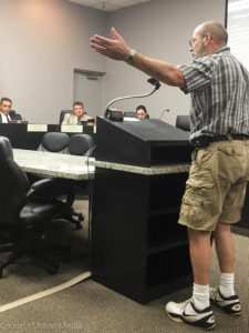 Safety Harbor resident Richard Laird speaks at the City Commission meeting on Monday, August 15, 2016.