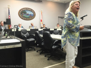 Safety Harbor resident Sue Zinkel speaks at the City Commission meeting on Monday, August 15, 2016.