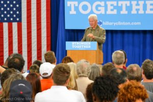 Former President Bill Clinton stopped in Safety Harbor on Tuesday night as part of his campaign to help wife, Hillary, get elected this year.