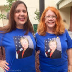 Daughter Sheila and mom Vicki Halley show their support for Hillary Clinton outside the Safety Harbor Community Center.
