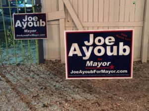 Campaign signs for Joe Ayoub were mistakenly spread around town prior to the pre-election 90-day window such signage is allowed, according to Safety Harbor mayoral candidate Ayoub.