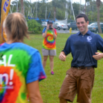 Then-mayor Joe Ayoub unsuccessfully tries to dodge a water balloon during the opening of Safety Harbor's Waterfront Park in June 2013.
