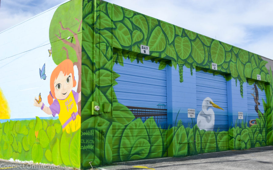 The colorful mural that covers Safety Harbor's building maintenance facility was a collaborative effort between several bay area artists, including Largo's Tanya Pistillo and Derek Donnelly of St. Petersburg.