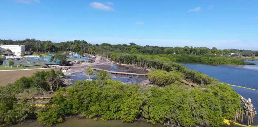A screenshot from a drone video shot by contractor Augustine Construction shows the progress of the boardwalk construction at Safety Harbor's Waterfront Park.