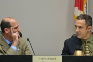 Safety Harbor Mayor Andy Steingold and Commissioner Carlos Diaz discuss the setback ordinance on Tuesday, January 17, 2017.